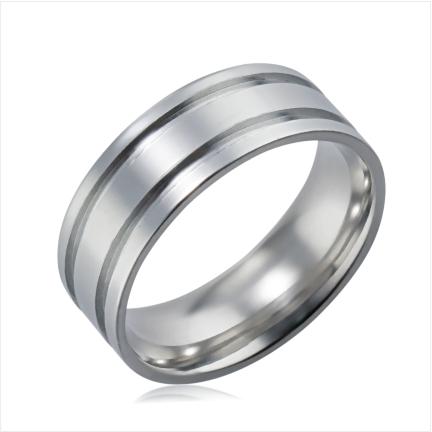 Aliança de alumínio reta anatômica de 7 mm polida com dois frisos laterais