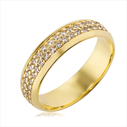 Aliança folheada a ouro abaulada anatômica de 6 mm com pedras