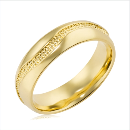 Aliança folheada a ouro abaulada anatômica de 6 mm com trabalhado