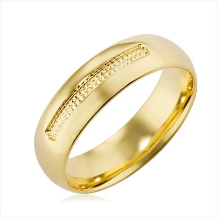 Aliança folheada a ouro abaulada anatômica de 6 mm