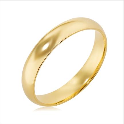 Aliança folheada a ouro abaulada anatômica 4 mm lisa