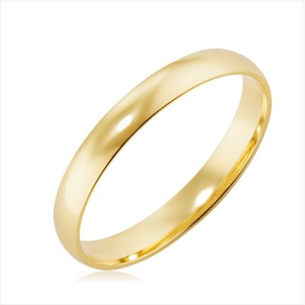 Aliança folheada a ouro abaulada anatômica 3 mm lisa
