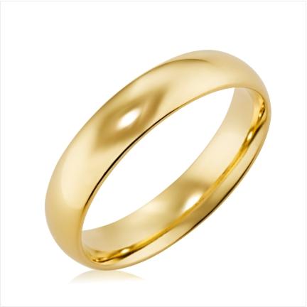Aliança folheada a ouro abaulada anatômica 5 mm lisa