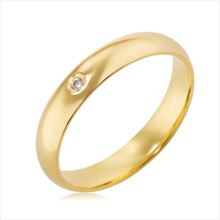 Aliança de ouro 18k 750 abaulada anatômica 4mm com 1 Diamante 1,50 mm