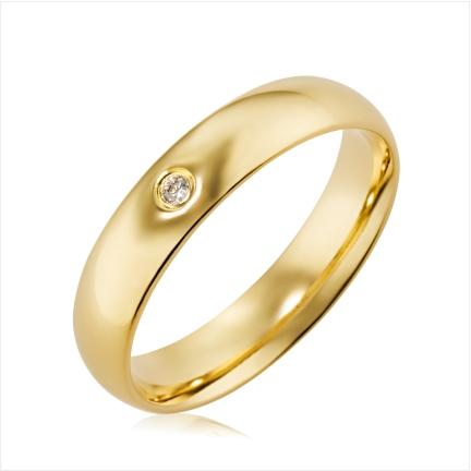 Aliança de ouro 18k 750 abaulada anatômica 5mm com 1 Diamante 1,75 mm