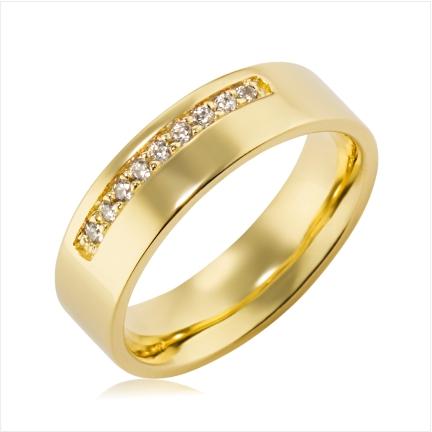 Aliança de ouro 18k 750 reta anatômica de 6mm com 9 Diamantes de 1,50mm