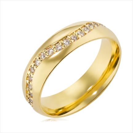 Aliança de ouro 18k 750 abaulada anatômica de 6mm com Diamantes de 1,50mm em zig zag