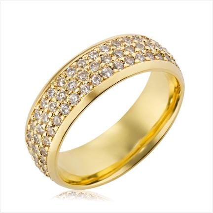 Aliança de ouro 18k 750 abaulada anatômica de 7mm com 3 frisos cravejados com Diamantes