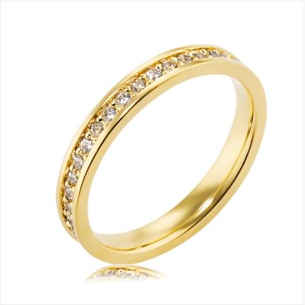 Aliança de ouro 18k 750 reta anatômica de 3mm cravejada no centro com diamantes de 1,50mm