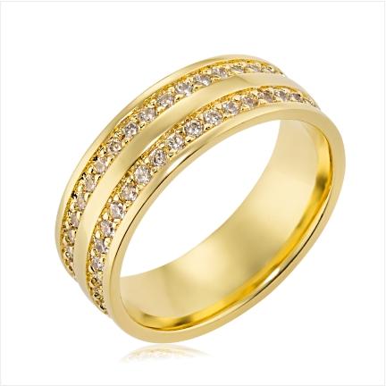 Aliança de ouro 18k 750 reta anatômica de 7mm com 2 frisos laterais cravejados com Diamantes