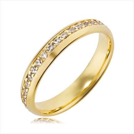 Aliança de ouro 18k 750 abaulada anatômica de 4mm cravejada no centro com Diamantes de 1,50m