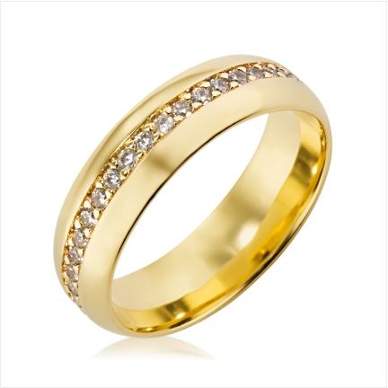 Aliança de ouro 18k 750 abaulada anatômica de 6mm cravejada no centro com Diamantes de 1,50m