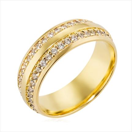 Aliança de ouro 18k 750 abaulada anatômica de 7mm cravejada  com Diamantes de 1,50 mm