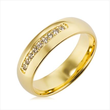 Aliança de ouro 18k 750 abaulada anatômica de 6mm com 9 Diamantes de 1,50mm