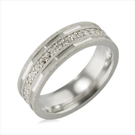 Aliança de Prata 950 6mm diamantada com pedras
