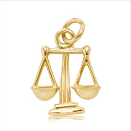 Pingente / Berloque de Formatura em ouro 18 k  750 Balança  - Curso: Direito