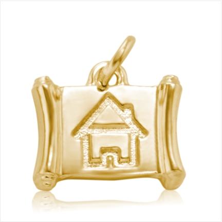 Pingente / Berloque de Formatura em ouro 18 k 750 Casa  - Curso: Arquitetura