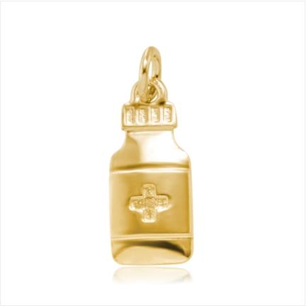Pingente / Berloque de Formatura em ouro 18 k 750  Vidro de Remédio  - Curso: Farmácia