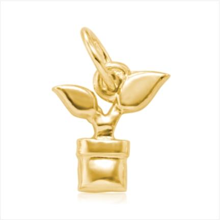 Pingente / Berloque de Formatura em ouro 18 k  750 Planta  - Curso: Agronomia