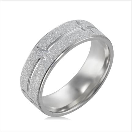 Aliança de Alumínio diamantada reta anatômica 7 mm com desenho de batimentos